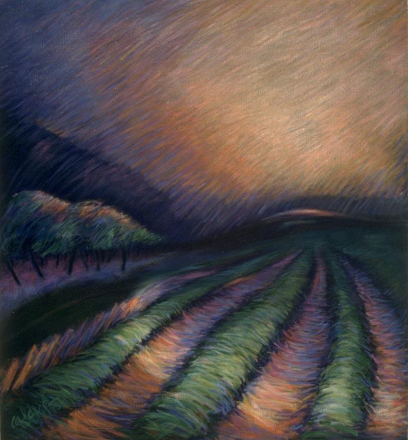 Arboleda al Caer 1992 Acrílico 46x42