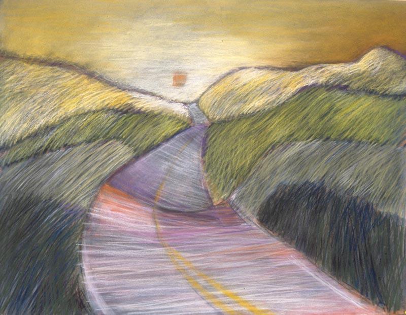 The Way Yellow Sky,1991, pastel, 19x25