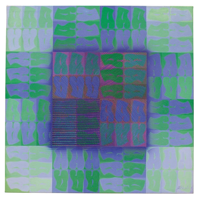 Homenaje a la A, 1970, Acrílico, 50x50