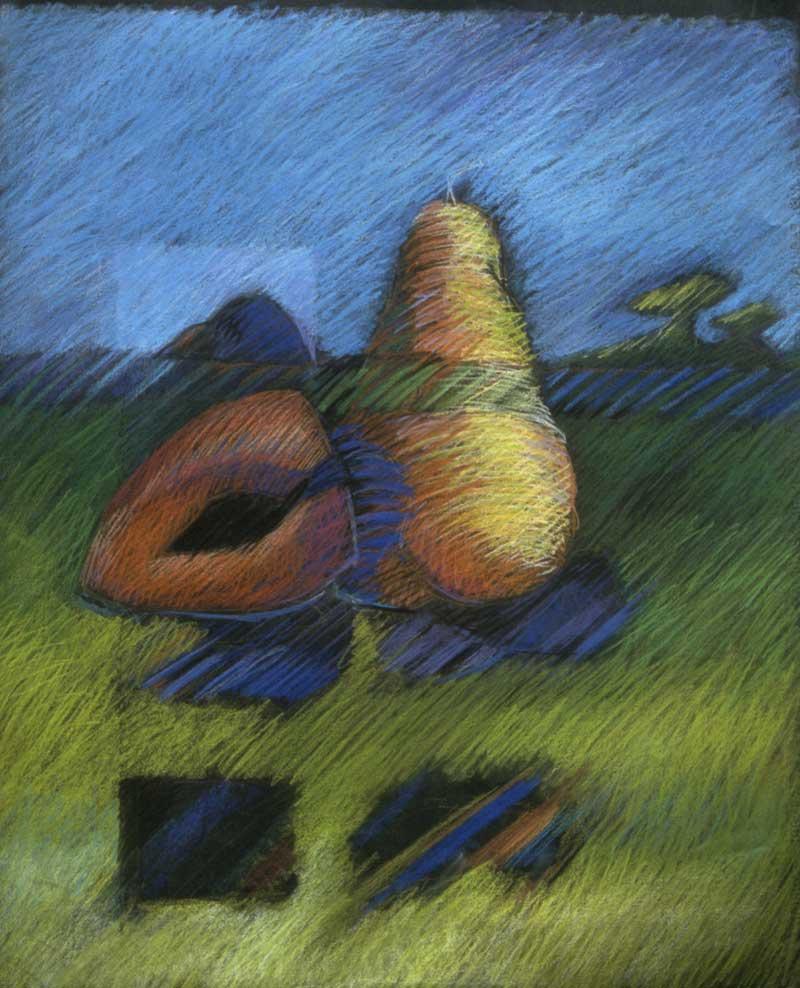 Landscape Pear & Mamey, 1987, pastel, 32.5x27